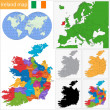 Ireland map — Vector de stock