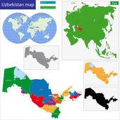 Usbekistan karte — Stockvektor