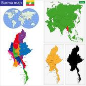 Mapa de birmania — Vector de stock