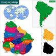 Uruguay map — Stock Vector #46174435