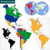 Americas map — Stock Vector