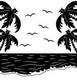 Black and white tropical landscape — Stock Vector