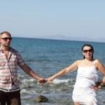Couple on sea background — Stock Photo
