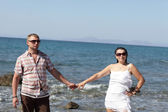 Couple on sea background — Stock Photo