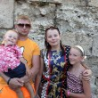 Family in castle of Rhodes — Stock Photo