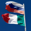 Russia and Italy national flags — Stock Photo