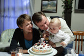 Family and birthday cake — Foto de Stock