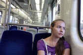Pensive girl in train — Stock Photo