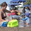 ストック写真: Mother with boy on beach