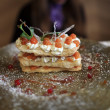 Stock Photo: Cake with mascarpone cream and caramel