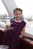 Girl with glass of milk shake — Stockfoto