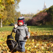 Toddler with backpack — Stock Photo