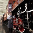 Mother with son at railway museum — Stock Photo