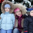 Stock Photo: Children with Christmas tree