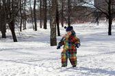 Toddler walking in park — Stock Photo