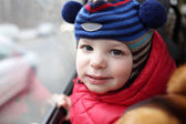 Child at bus — Stock Photo