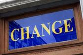 Blue change signboard — Stok fotoğraf