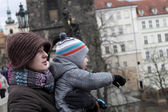 Mother and her son at Charles bridge — Stock Photo