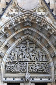 Ornament of tympanum St. Vitus Cathedral — Stock Photo