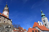 St. Jost Church and Cesky Krumlov castle — Stock Photo