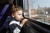 Boy in train — Stock Photo