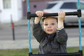 Boy on a rope ladder — Stock Photo