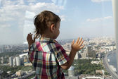 Boy looking at Moscow  — Stock Photo