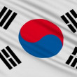 South Korean flag, with real structure of a fabric - Stock Photo