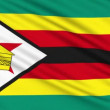 Zimbabwe flag, with real structure of a fabric - Stock Photo