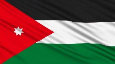 Jordaniens flagga, med verkliga struktur av ett tyg — Stockvideo