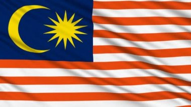 Malaysian flag, with real structure of a fabric — Stock Video