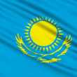 Kazakh Flag, with real structure of a fabric — Stock Video