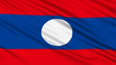 Laos Flag, with real structure of a fabric — Stock Video