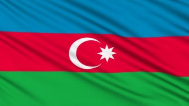 Azerbaijan Flag, with real structure of a fabric — Stock Video