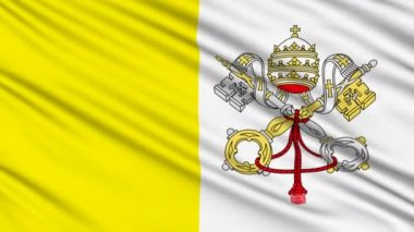 Vatican Flag, with real structure of a fabric — Stock Video