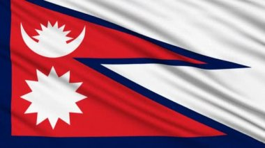 Nepal Flag, with real structure of a fabric — Stock Video
