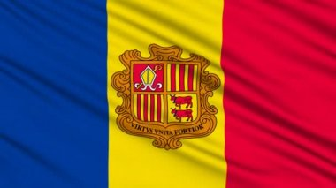 Andorra Flag, with real structure of a fabric — Stock Video #12807390