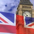 Stock Video: England flag on background bigben