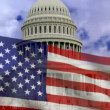 Stock Video: American flag and the white house