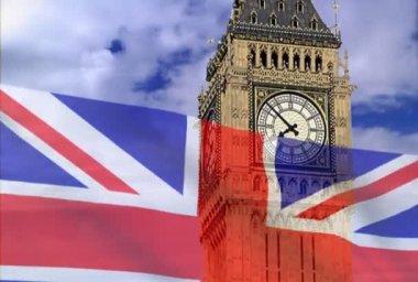 Bandiera inghilterra su una priorità bassa bigben — Video Stock