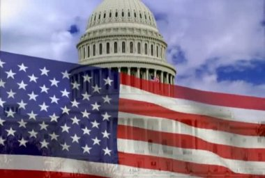 American flag and the white house — Stock Video