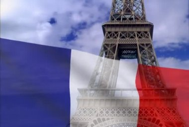 French flag on a background of the Eiffel Tower.