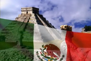 Mexican flag on a background of the Pyramid.