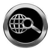 Globe and magnifier icon silver, isolated on white background. — Stock Photo