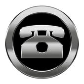 Phone icon silver, isolated on white background. — Stock Photo