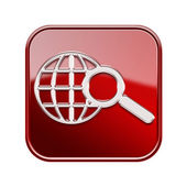 Globe and magnifier icon red, isolated on white background — Stock Photo