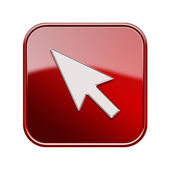 Cursor icon red, isolated on white background — Stock Photo