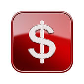 Dollar icon glossy red, isolated on white background — Photo