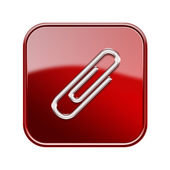 Paper clip icon glossy red, isolated on white background — Foto Stock