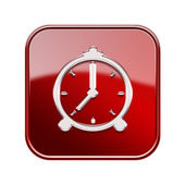 Alarm clock icon glossy red, isolated on white background — Stock Photo